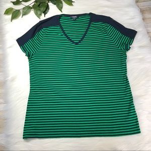 Chaps Navy Blue and Green Striped Top Sz XXL